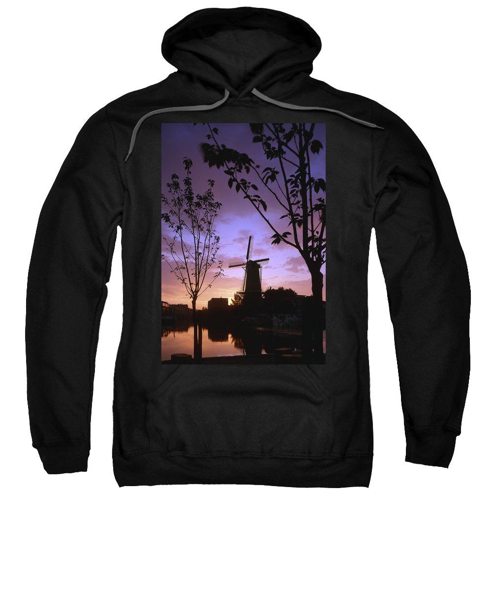 Sunset Sweatshirt featuring the photograph Windmill At Sunset by Casper Cammeraat