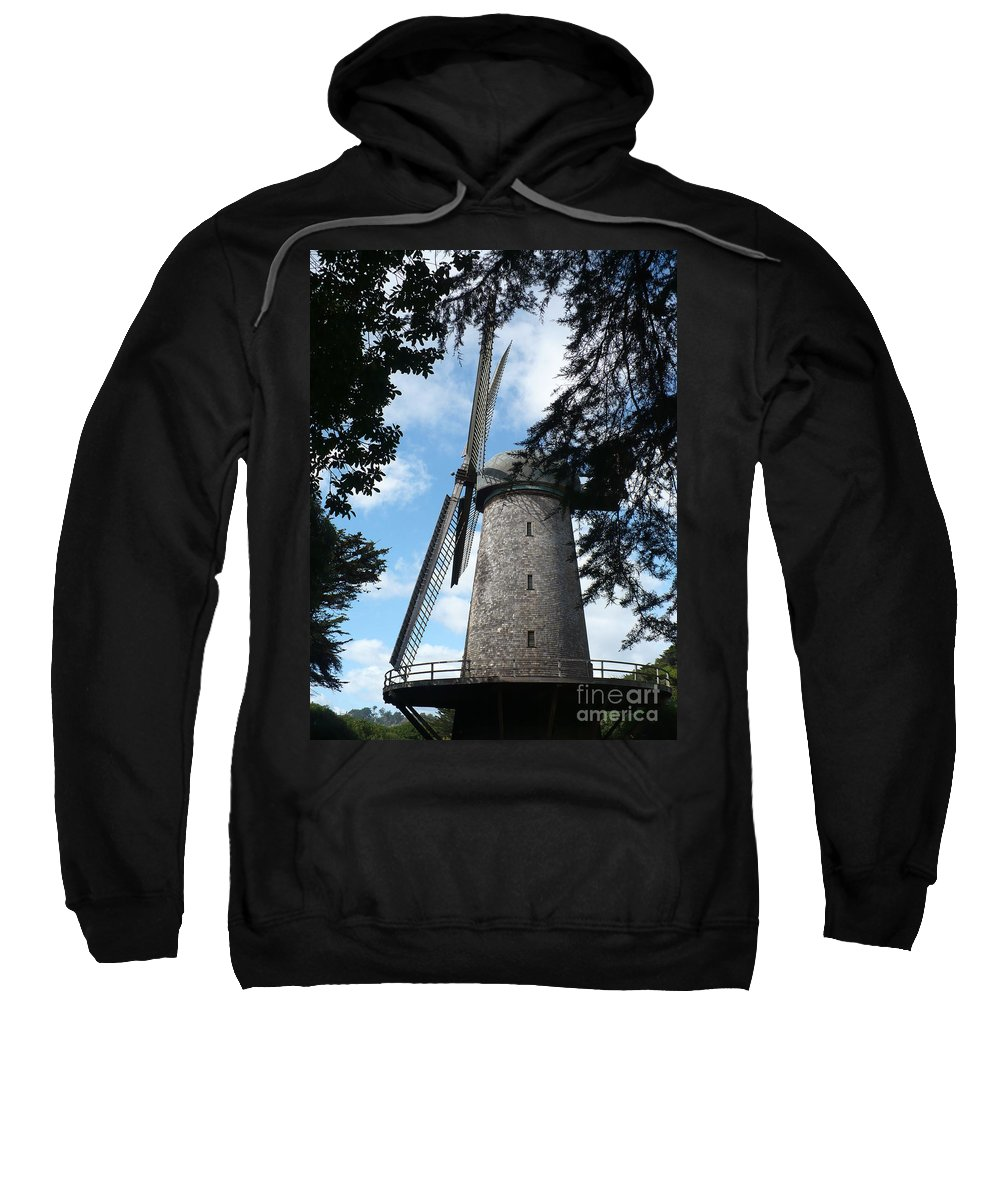 Windmill Sweatshirt featuring the photograph Windmill Through The Trees by Carol Groenen