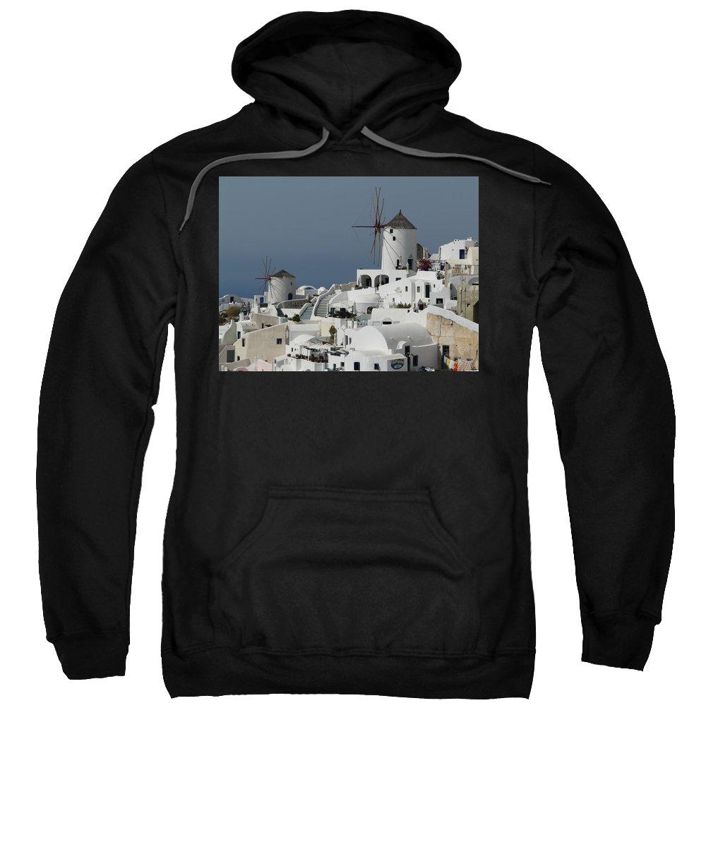 Santorin Sweatshirt featuring the photograph Windmills Of Santorini by Valerie Ornstein