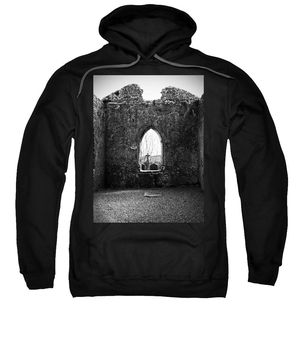 Ireland Sweatshirt featuring the photograph Window At Fuerty Church Roscommon Ireland by Teresa Mucha