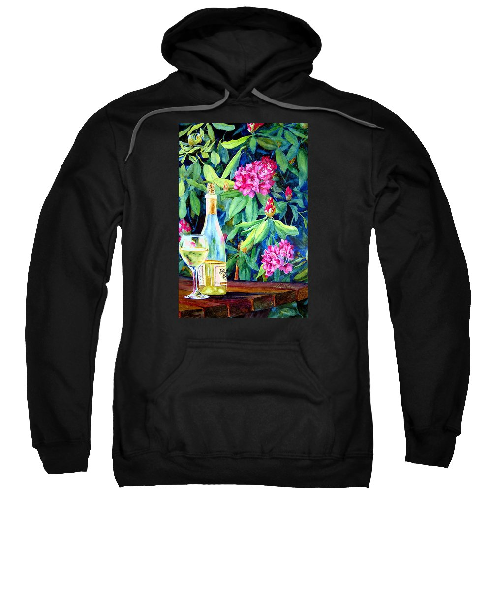 Rhododendron Sweatshirt featuring the painting Wine And Rhodies by Karen Stark