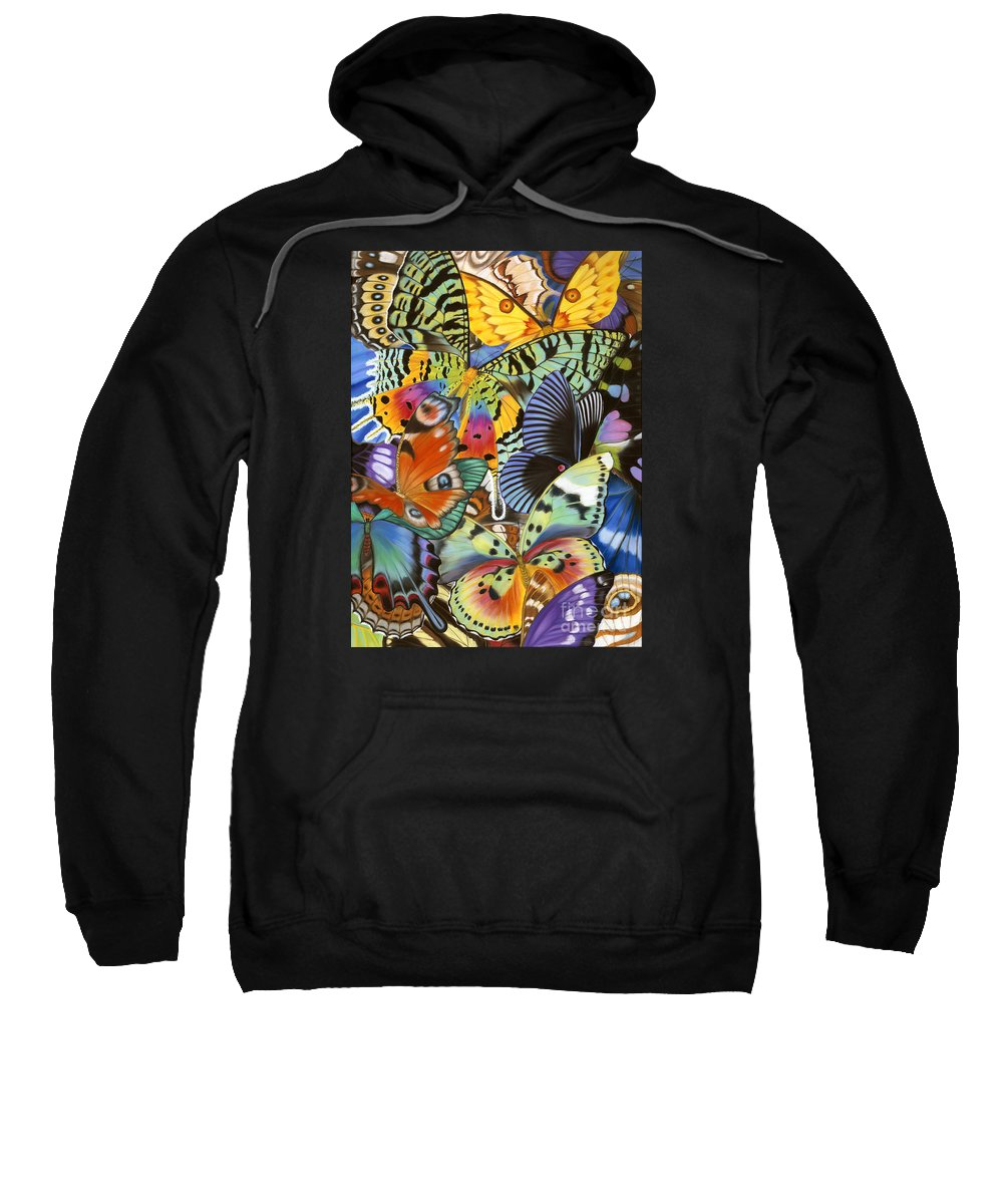 Butterflies Sweatshirt featuring the painting Wings of the world by Lucy Arnold