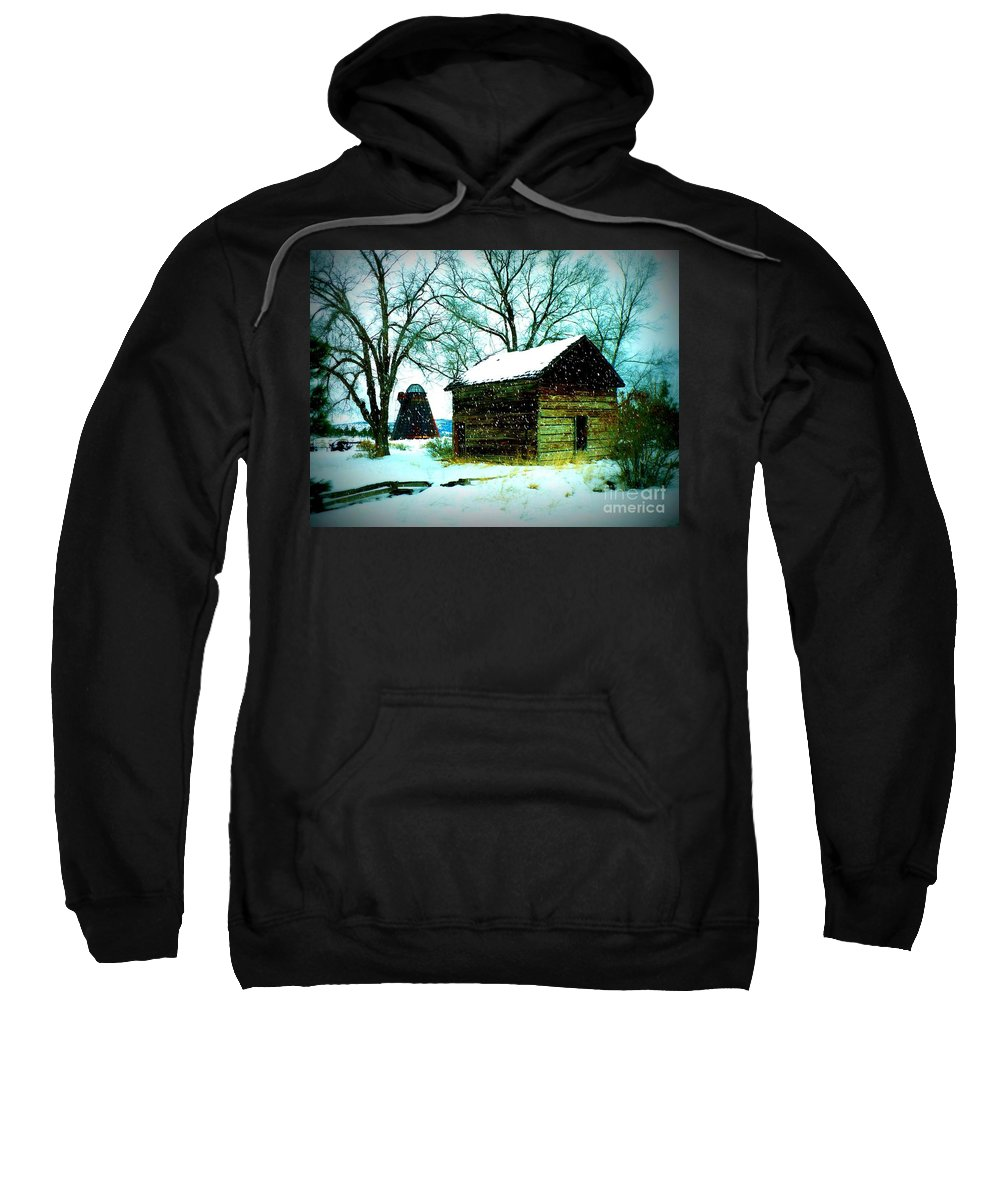 Winter Landscape Sweatshirt featuring the photograph Winter Barn And Silo by Carol Groenen