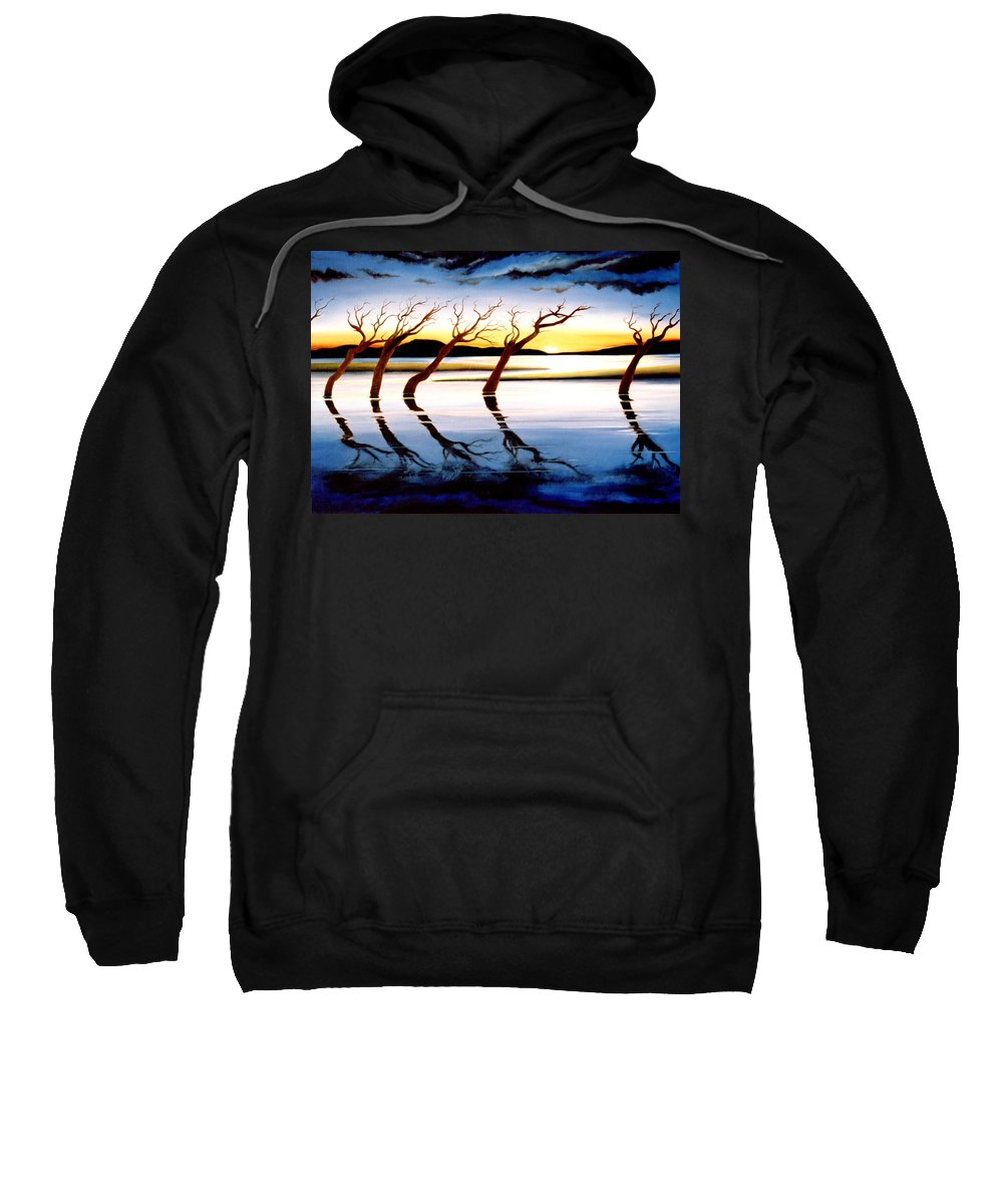 Seascape Sweatshirt featuring the painting Winter Heatwave by Mark Cawood