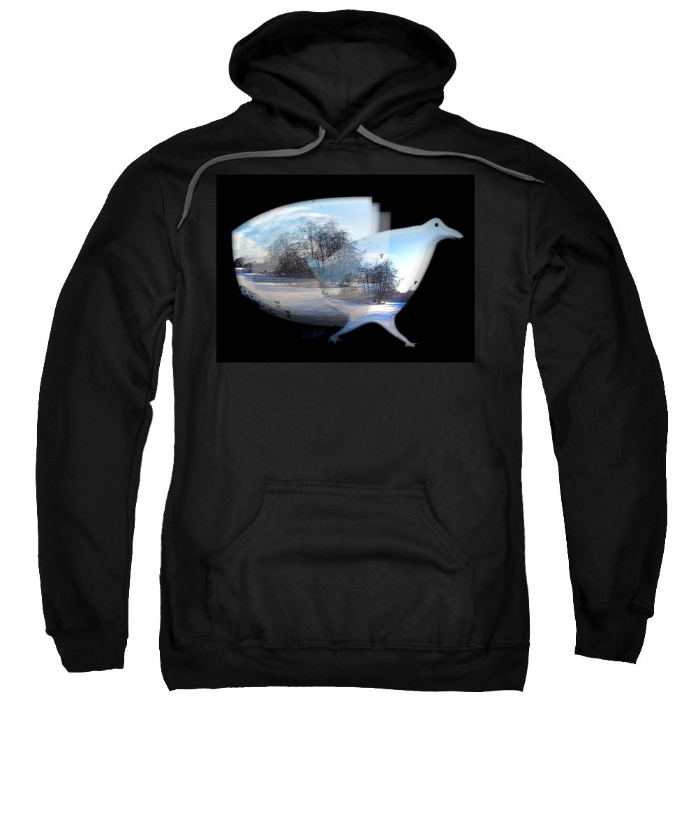 Duck Sweatshirt featuring the photograph Winter Ice by Charles Stuart