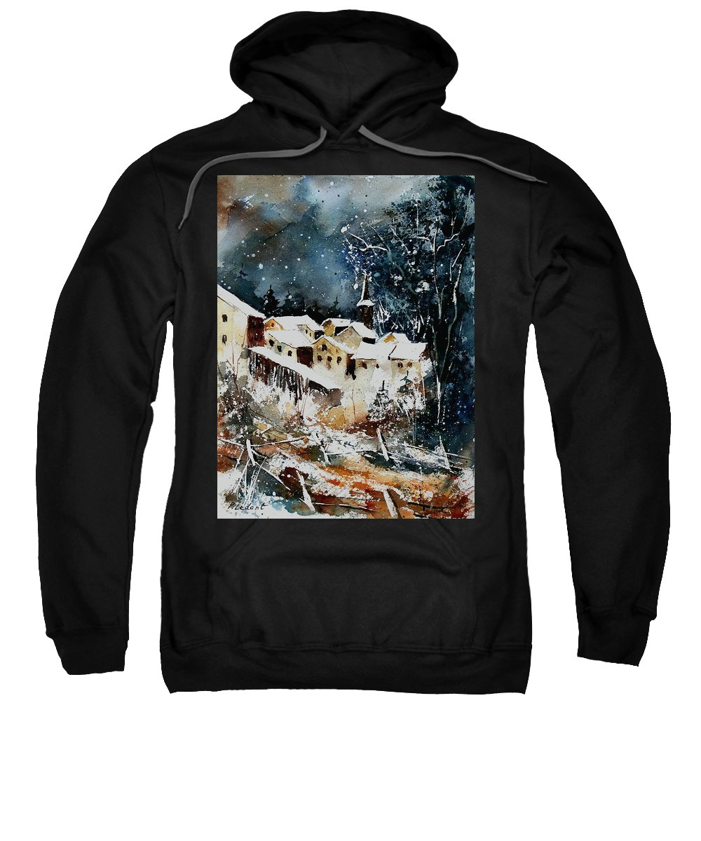 Winter Sweatshirt featuring the painting Winter In Vivy by Pol Ledent