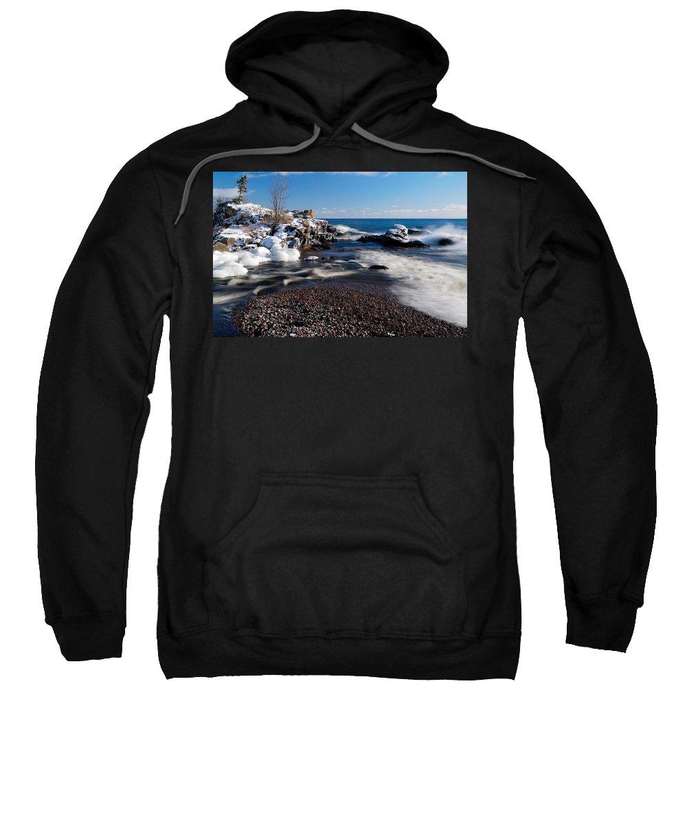 Michigan Sweatshirt featuring the photograph Winter Splash by Sebastian Musial