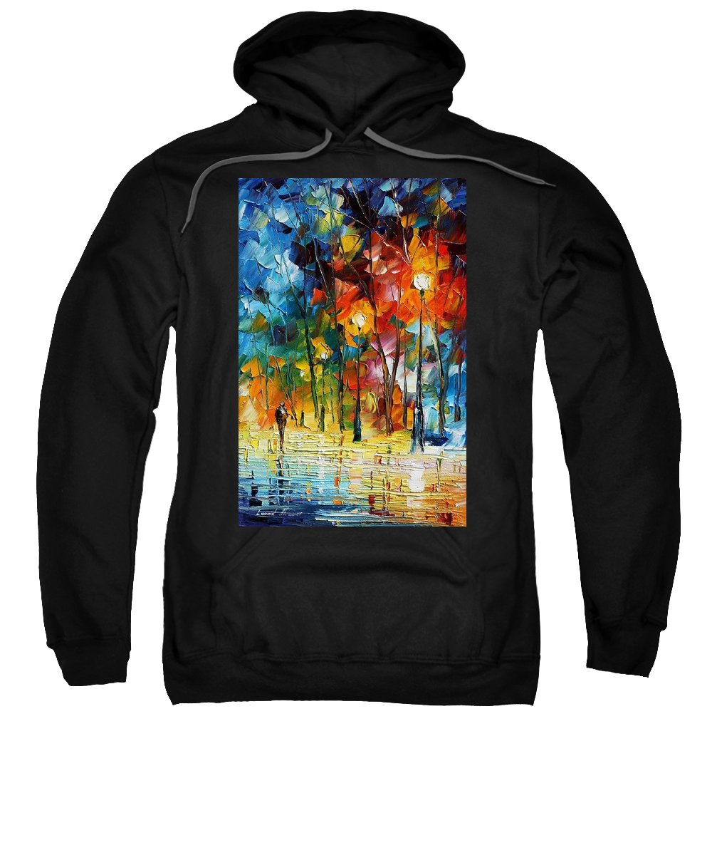 Afremov Sweatshirt featuring the painting Winter's Chill Wind by Leonid Afremov