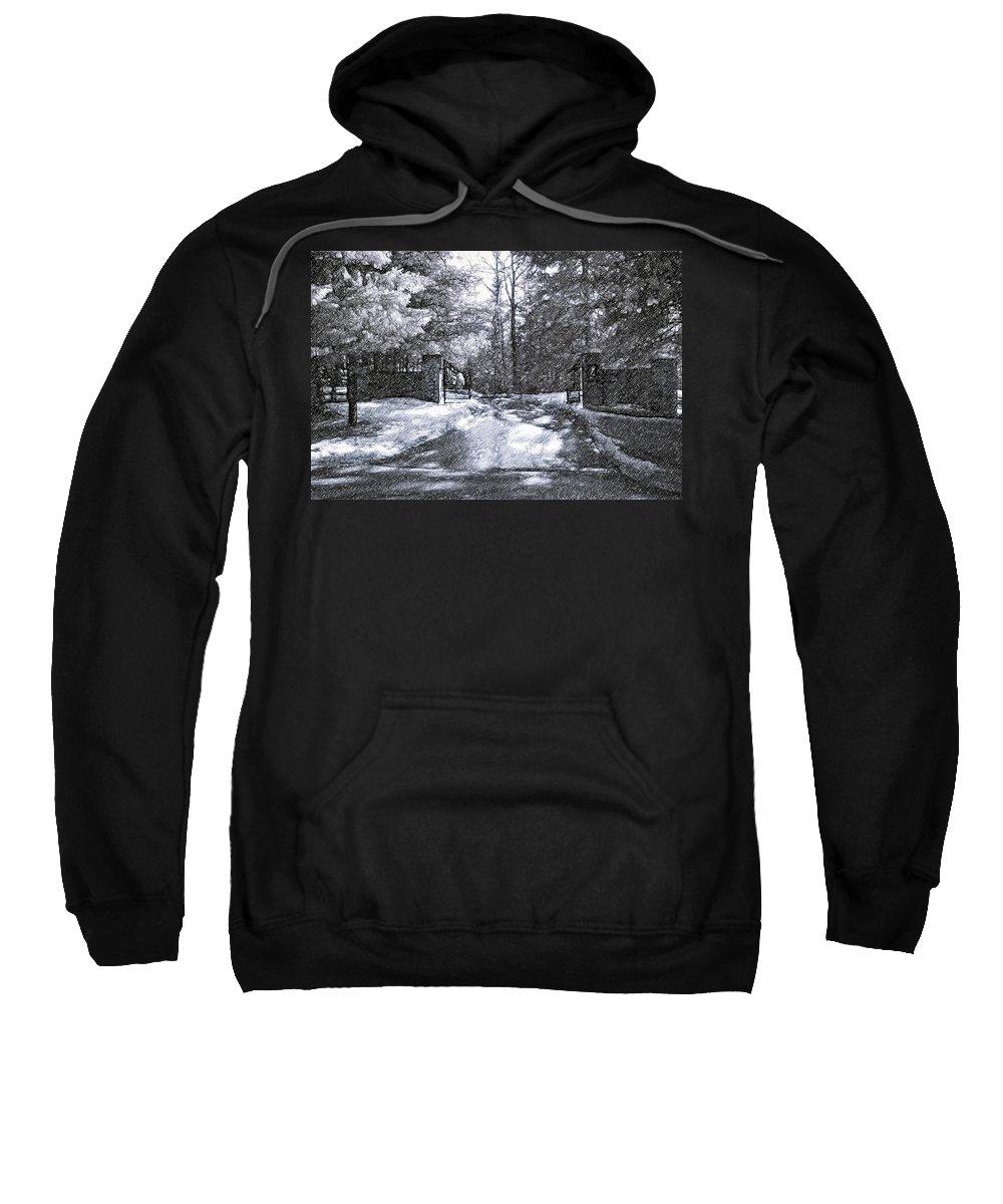 Winter Sweatshirt featuring the photograph Winter's Gates by Steve Harrington