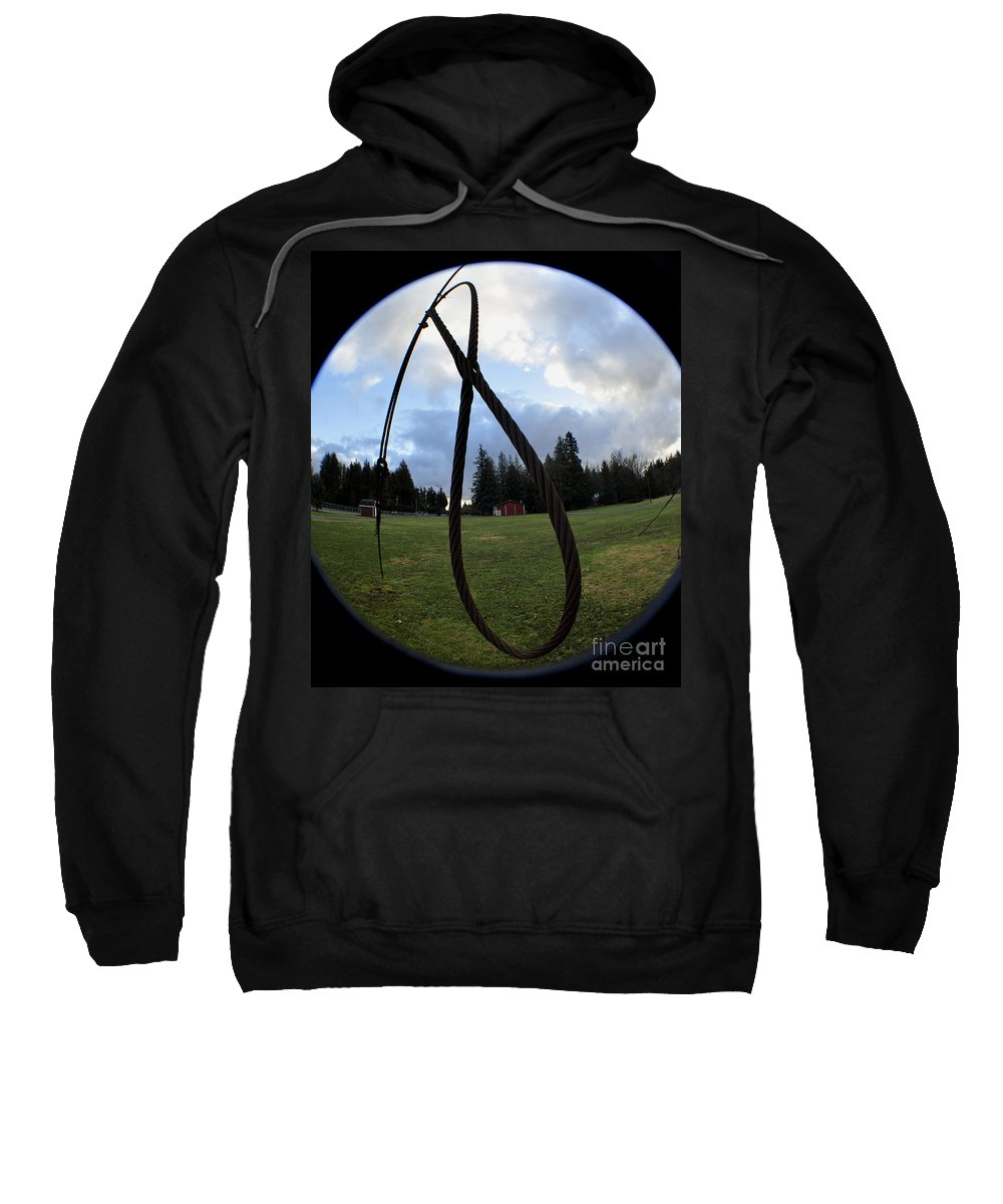 Clay Sweatshirt featuring the photograph Wire Rope Loggers Noose by Clayton Bruster