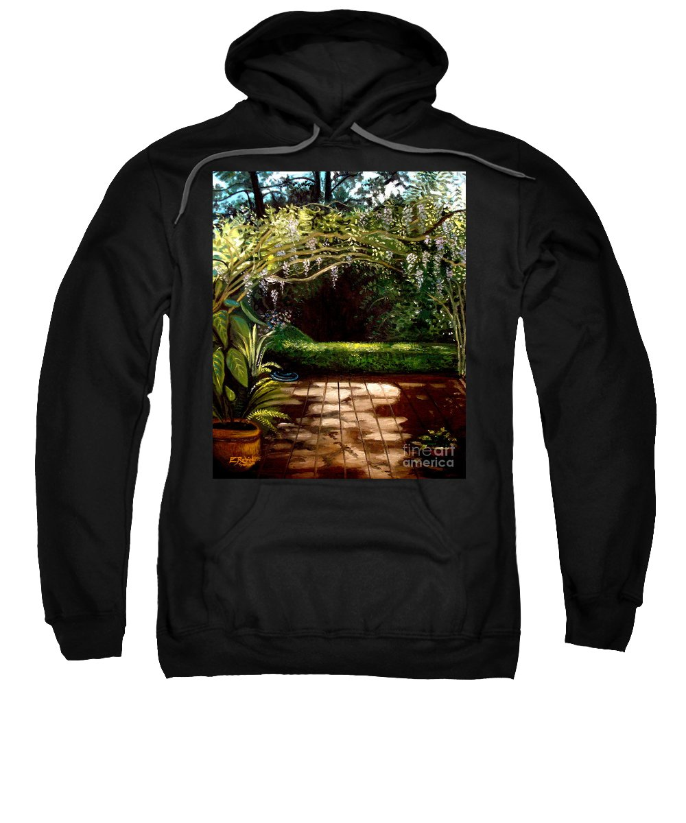 Landscape Sweatshirt featuring the painting Wisteria Shadows by Elizabeth Robinette Tyndall