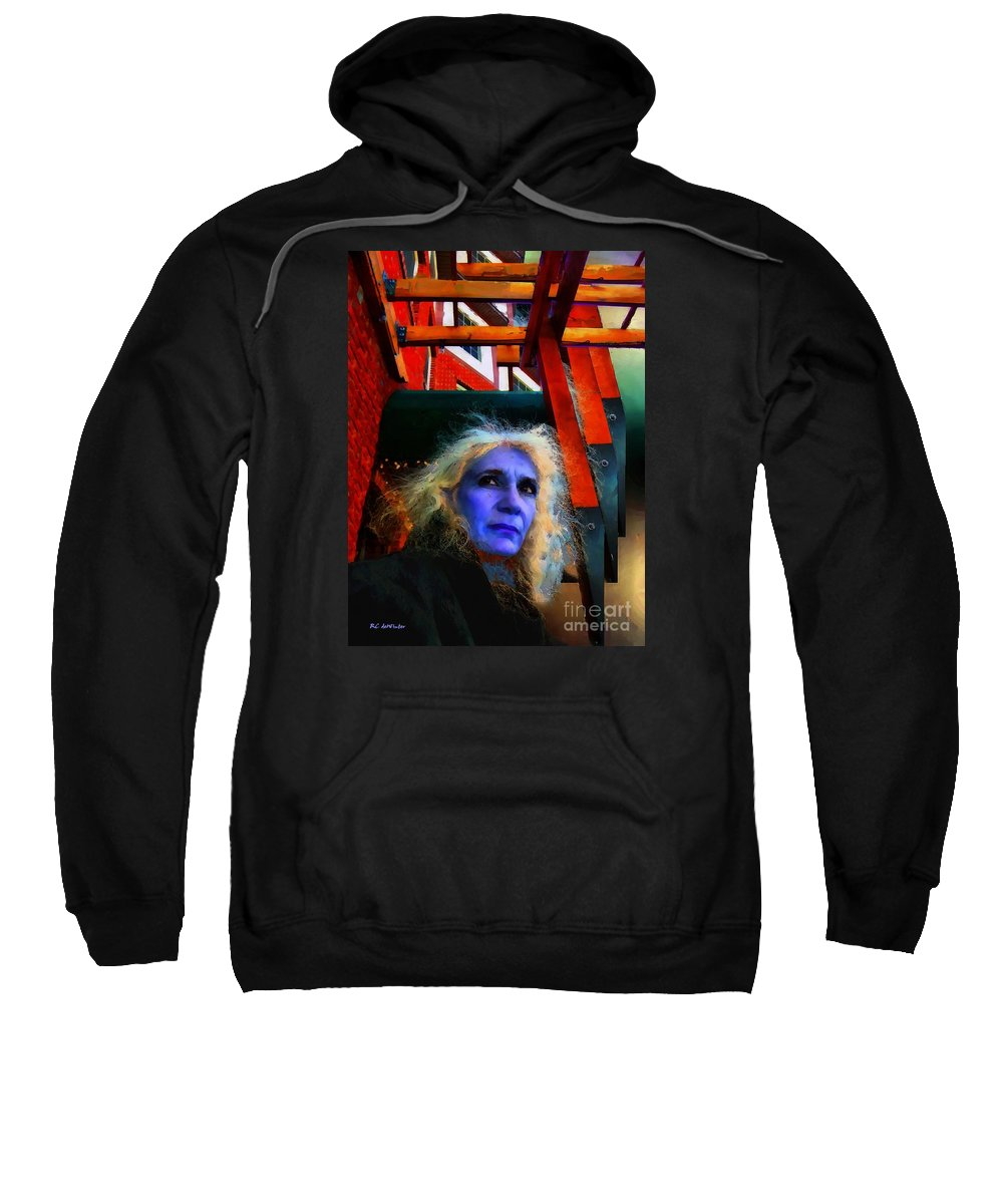 Woman Sweatshirt featuring the painting Witch On The Run by RC DeWinter