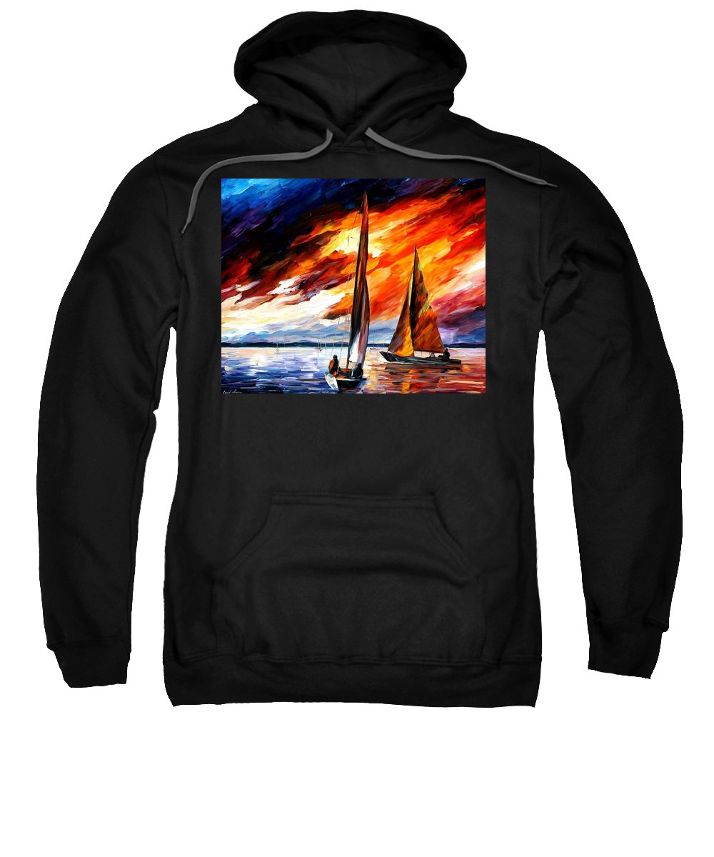 Afremov Sweatshirt featuring the painting With The Wind by Leonid Afremov