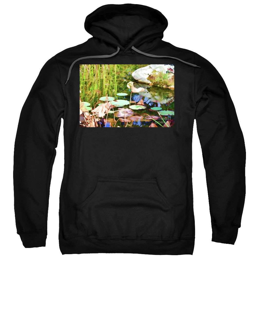 Pond Sweatshirt featuring the painting Withered Lotus In The Pond 2 by Jeelan Clark