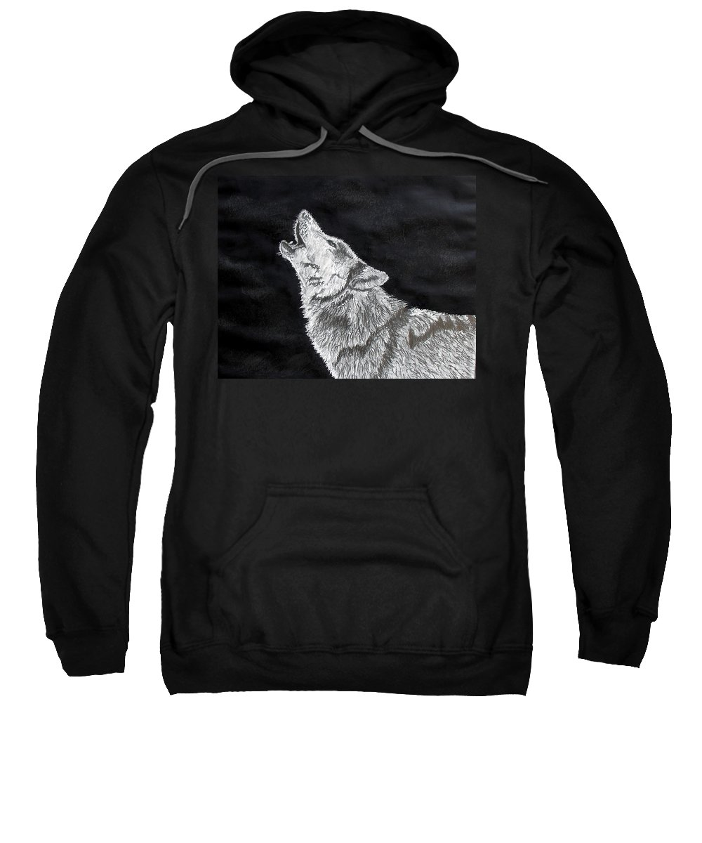 Pencil Sweatshirt featuring the drawing Wolf Howl by Stan Hamilton