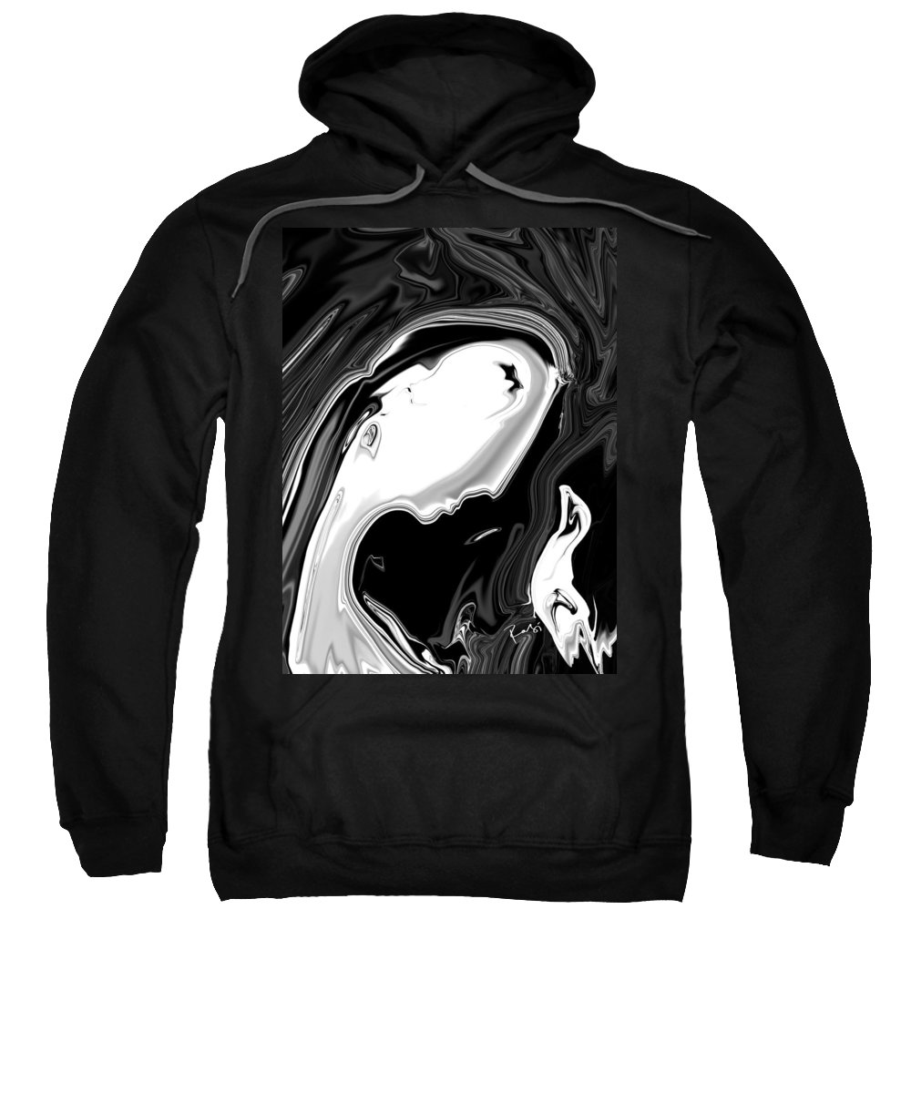 Art Sweatshirt featuring the digital art Woman And Bird by Rabi Khan