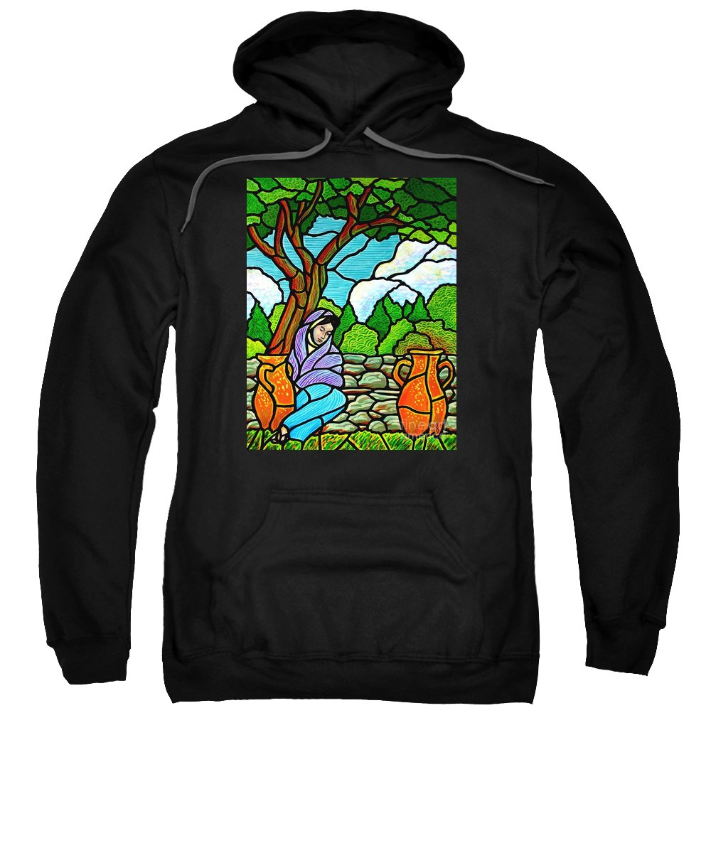 Women Sweatshirt featuring the painting Woman at the Well by Jim Harris