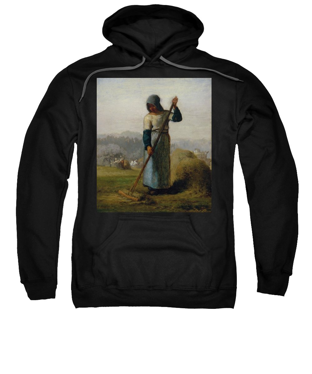 Barbizon School Sweatshirt featuring the painting Woman With A Rake by Jean-Francois Millet