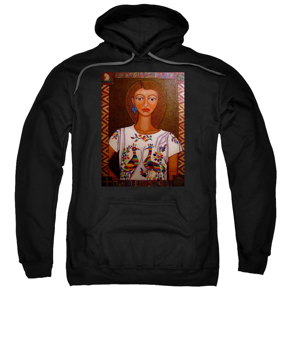 Woman Sweatshirt featuring the painting Women Below And Beyond The Sea by Madalena Lobao-Tello