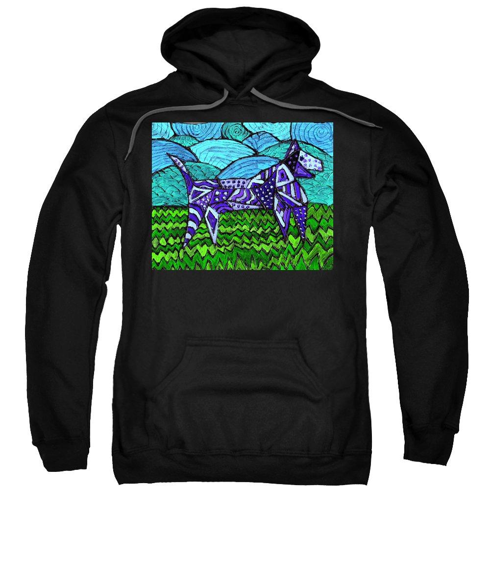 Dog Sweatshirt featuring the painting Wonder Dog by Wayne Potrafka