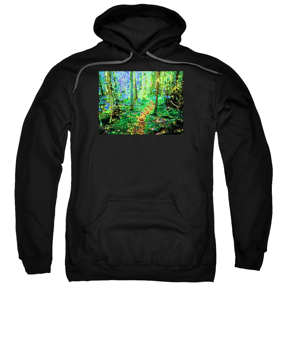 Nature Sweatshirt featuring the digital art Wooded Trail by Dave Martsolf