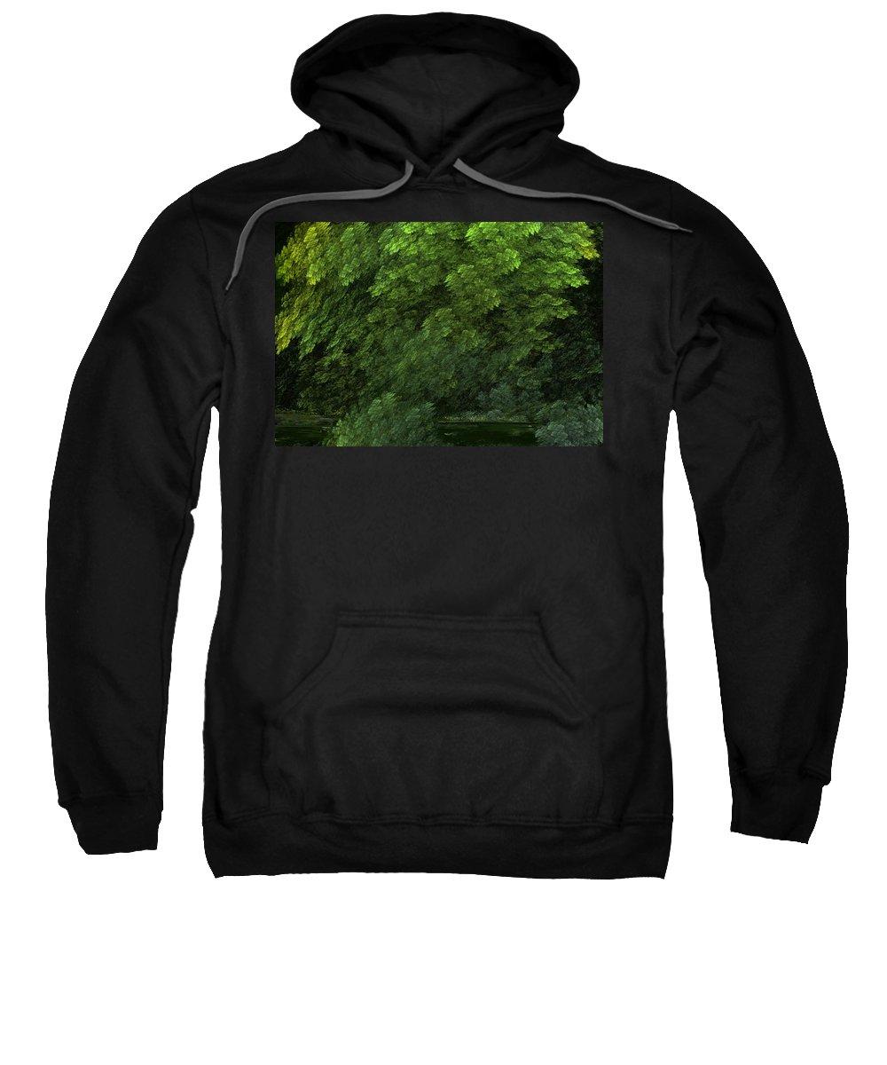 Digital Painting Sweatshirt featuring the digital art Woods And Stream by David Lane
