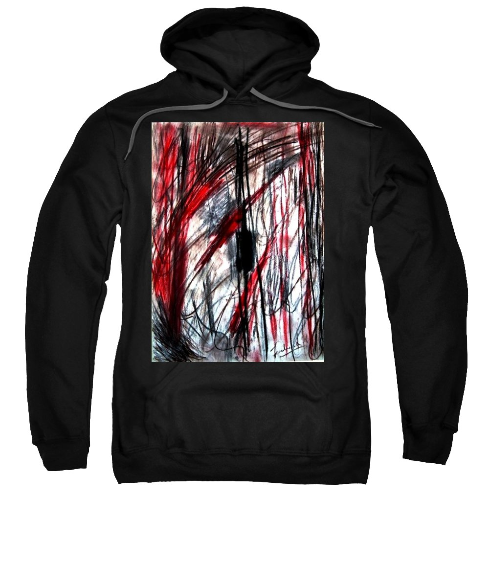 Abstract Sweatshirt featuring the drawing Words by Fareeha Khawaja