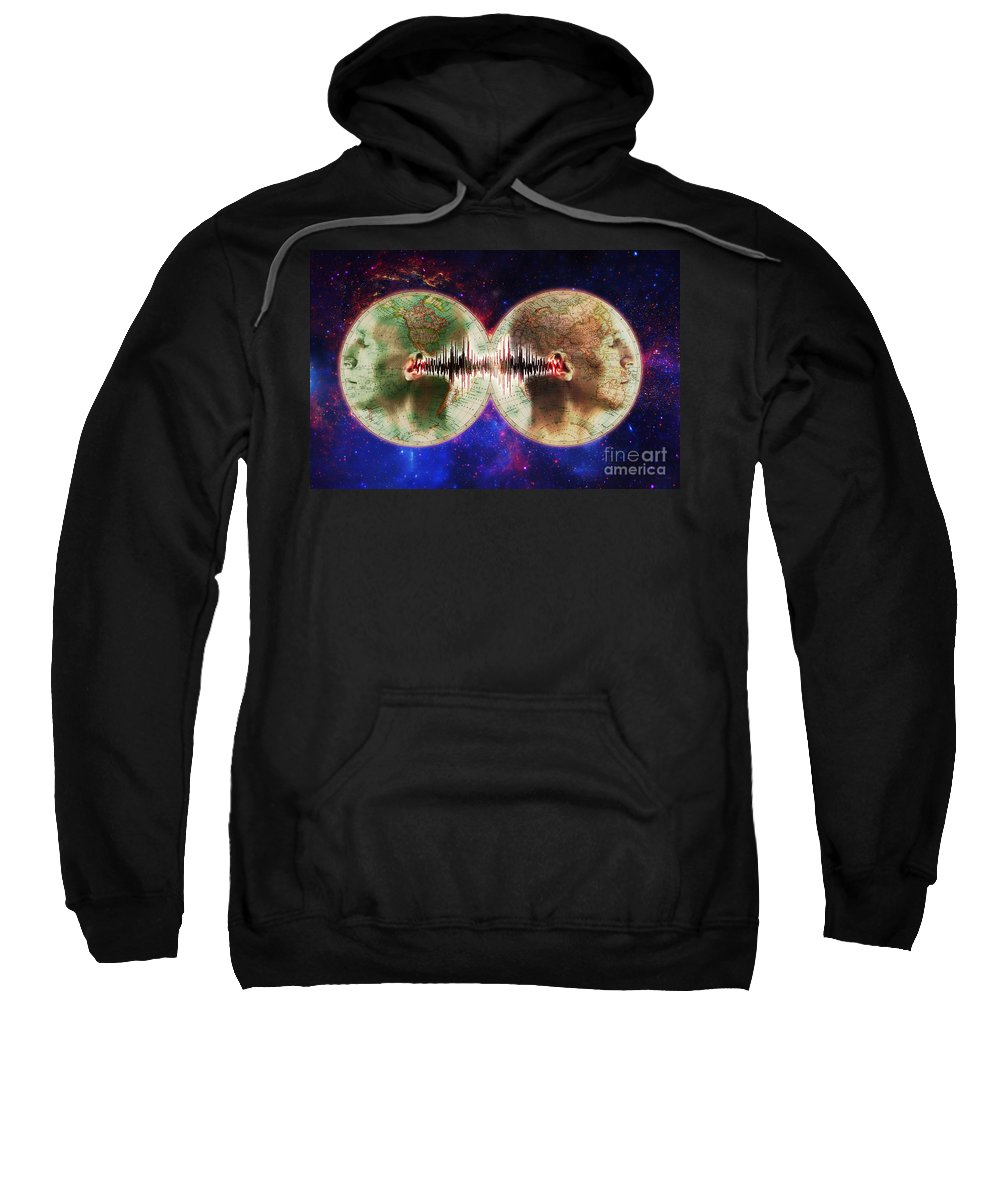 Earth Sweatshirt featuring the photograph World Communications by George Mattei