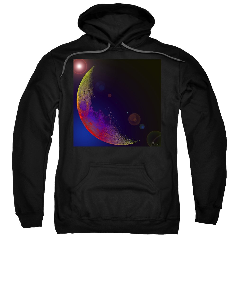 Moon Stars Planet Universe Sky Skies Lunar Outterspace Beauty Sweatshirt featuring the photograph Worshiped Moon by Andrea Lawrence