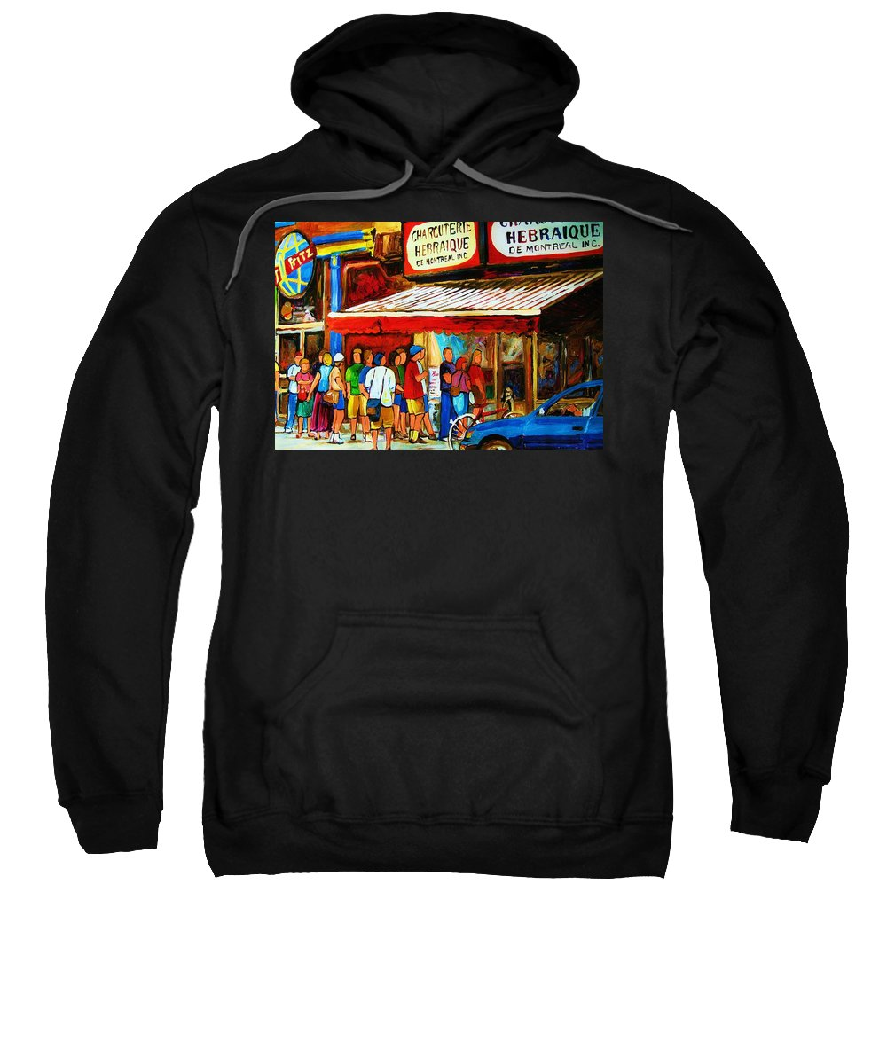 Montreal Streetscenes Sweatshirt featuring the painting Worth The Wait by Carole Spandau