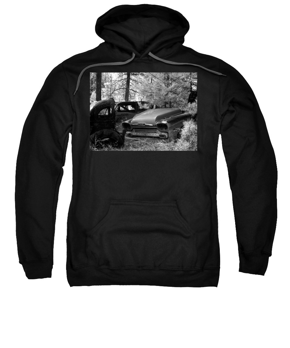 B&w Sweatshirt featuring the photograph Wrecking Yard In Infrared 1 by Lee Santa