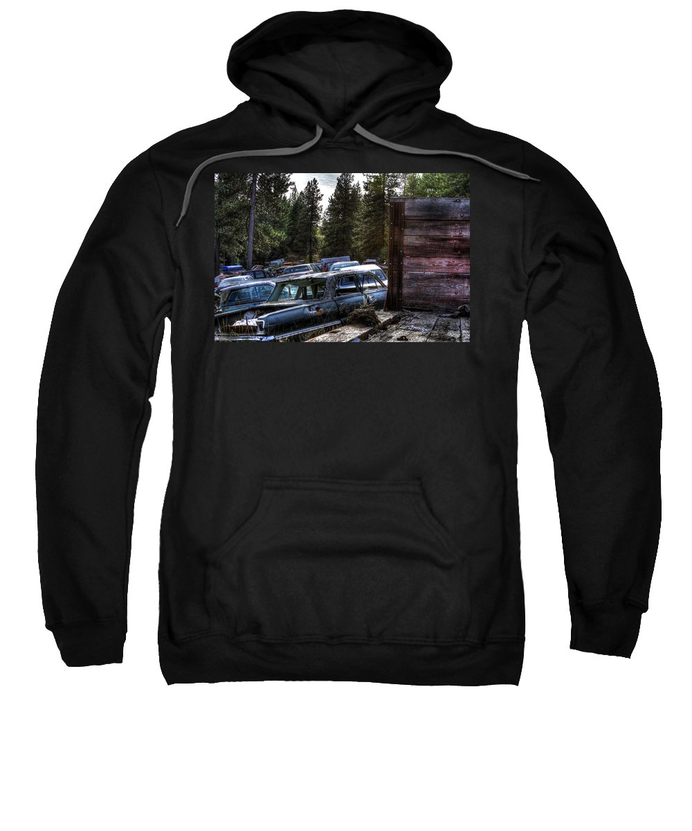 Cars Sweatshirt featuring the photograph Wrecking Yard Study 22 by Lee Santa