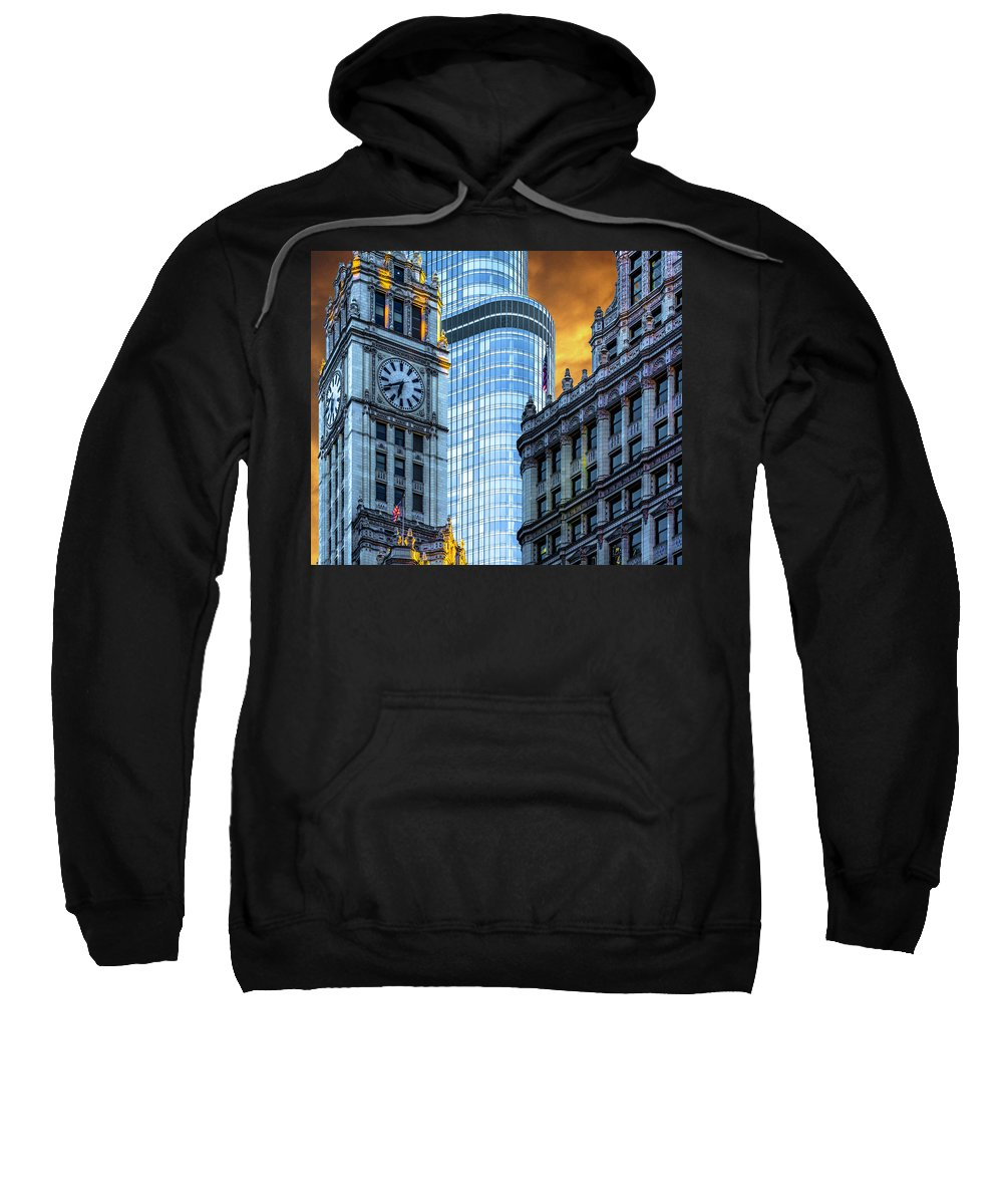 Sweatshirt featuring the photograph Wrigley Building And Trump Tower Dsc0540 by Raymond Kunst