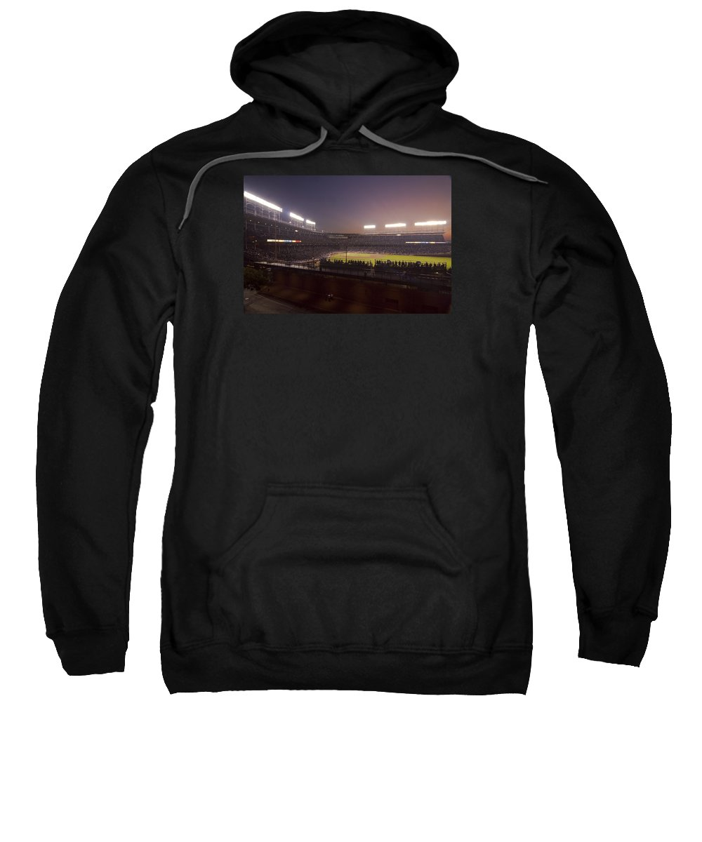 Cubs Sweatshirt featuring the photograph Wrigley Field At Dusk 2 by Sven Brogren