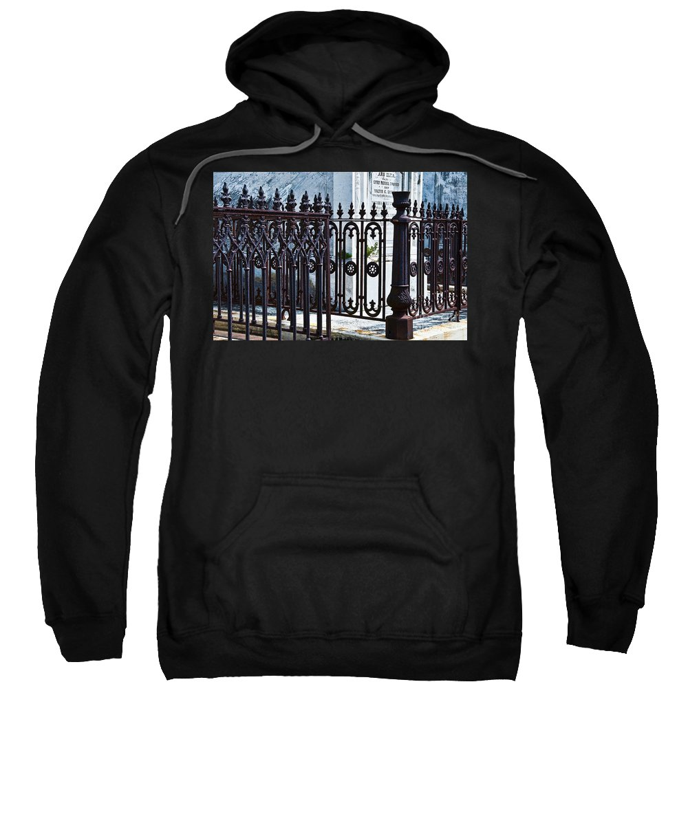 Iron Sweatshirt featuring the photograph Wrought Iron Cemetery Fence by Kathleen K Parker