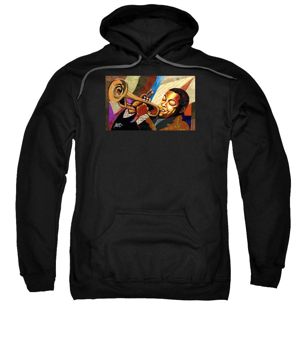 Everett Spruill Sweatshirt featuring the painting Wynton Marsalis by Everett Spruill