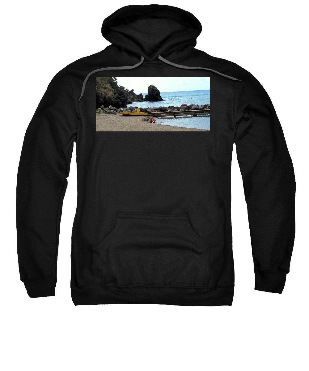 Beach Sweatshirt featuring the photograph Yellow Boat On The Beach by Ian MacDonald
