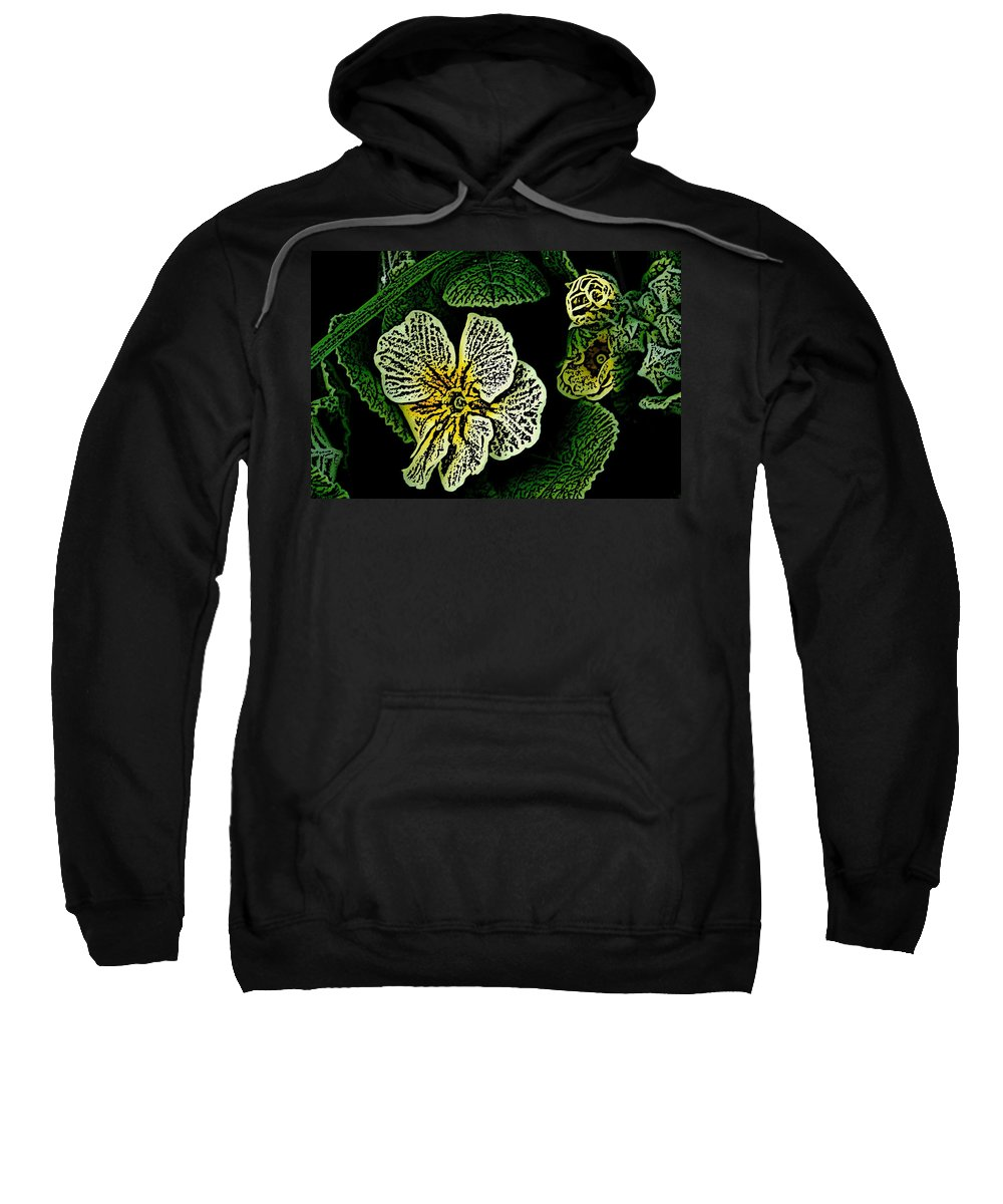 Floral Sweatshirt featuring the digital art Yellow Flower Woodcut by David Lane