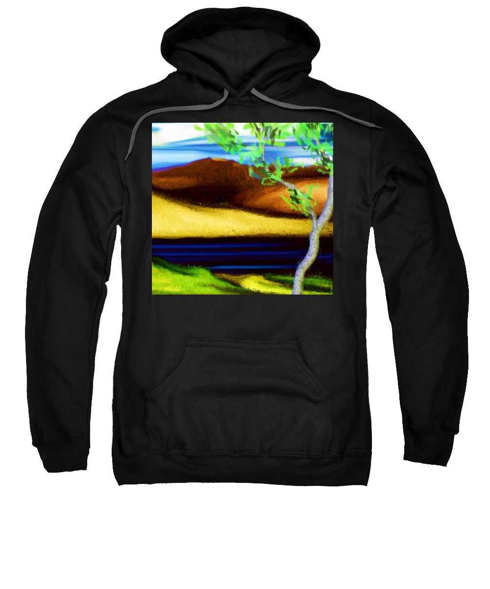 Digital Painting Sweatshirt featuring the digital art Yellow Hills Revisited by David Lane