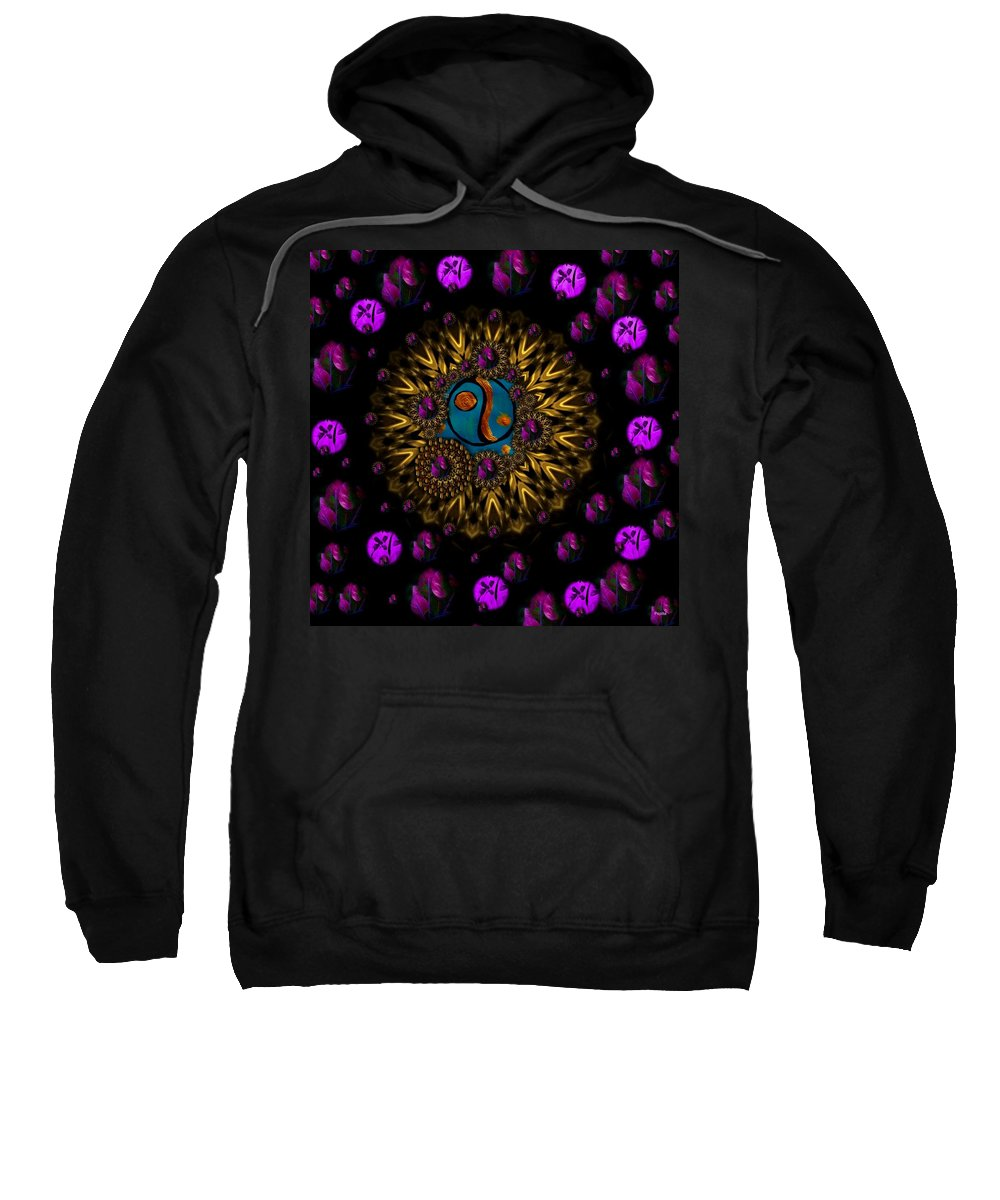 Acryl Sweatshirt featuring the mixed media Yin And Yang Collage by Pepita Selles