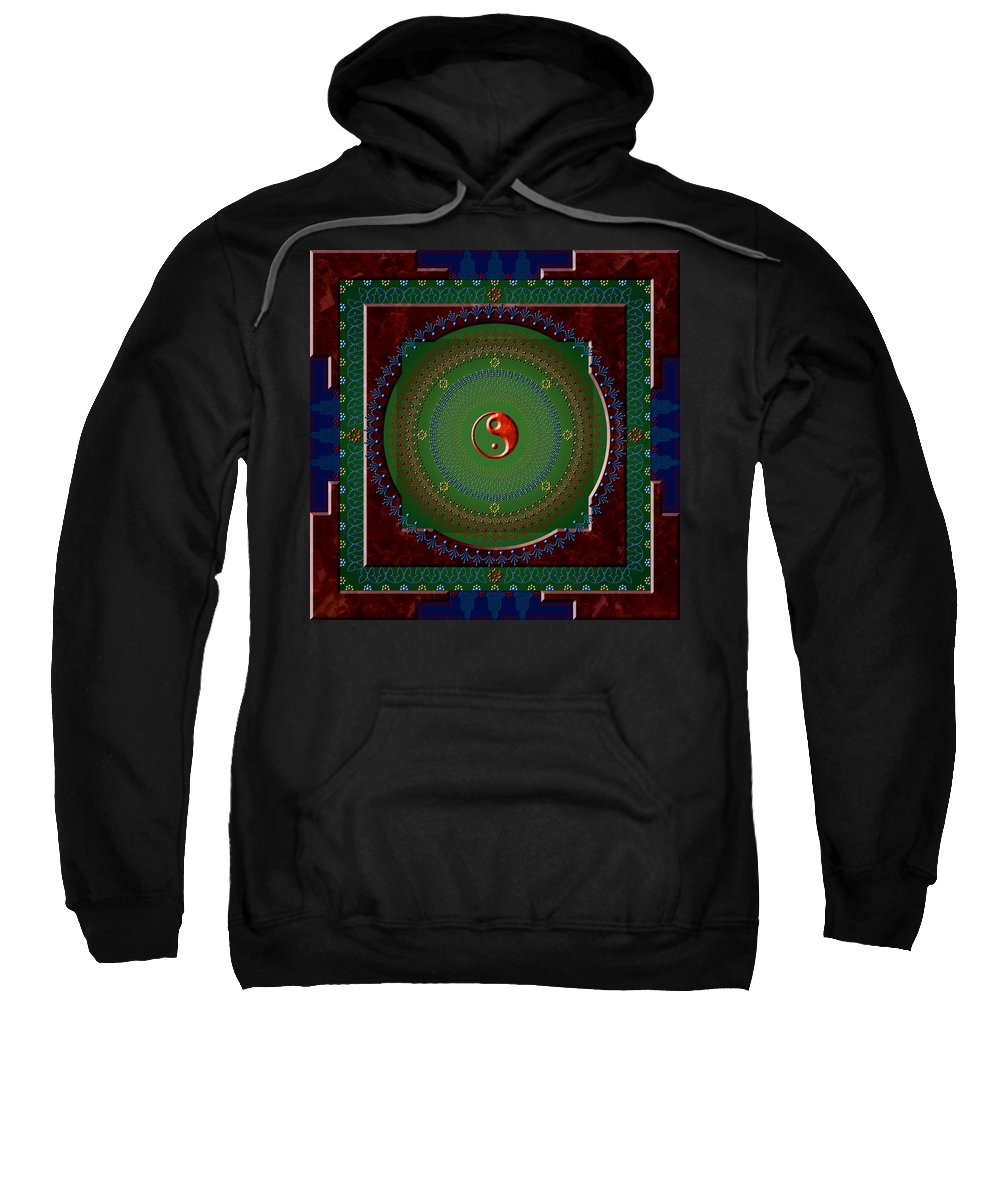 Mandala Sweatshirt featuring the digital art Yin Yang by Stephen Lucas