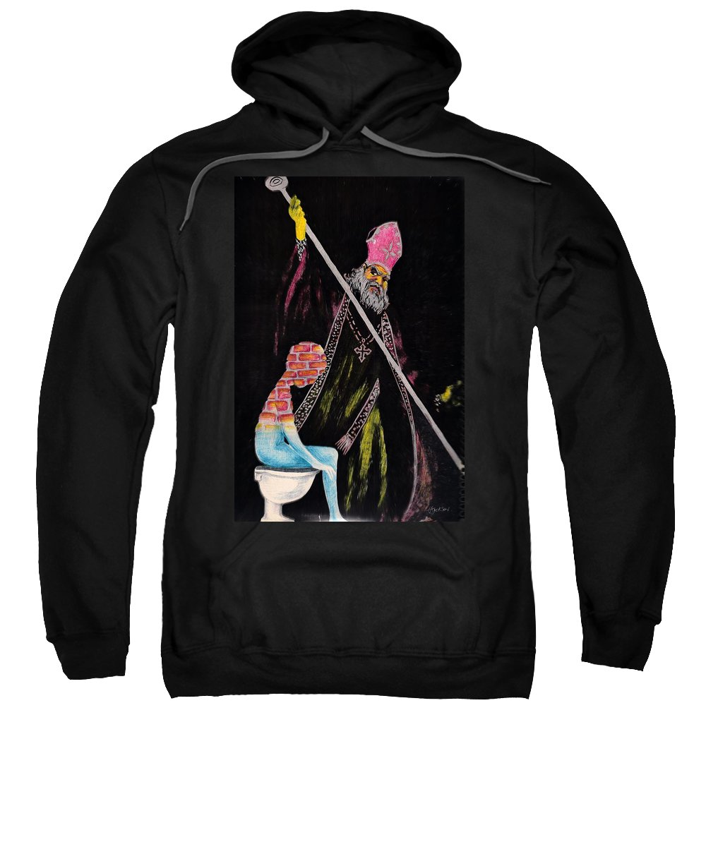 Religion God Salvation Darkness Control Lies Sweatshirt featuring the mixed media You Will Be Saved by Veronica Jackson