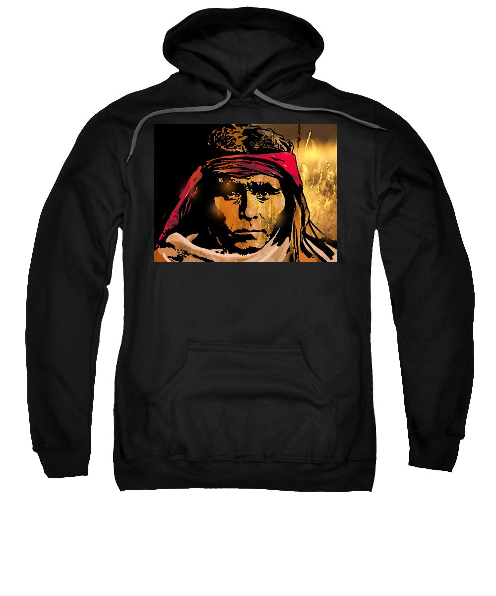 Native Americans Sweatshirt featuring the painting Young Apache Brave by Paul Sachtleben