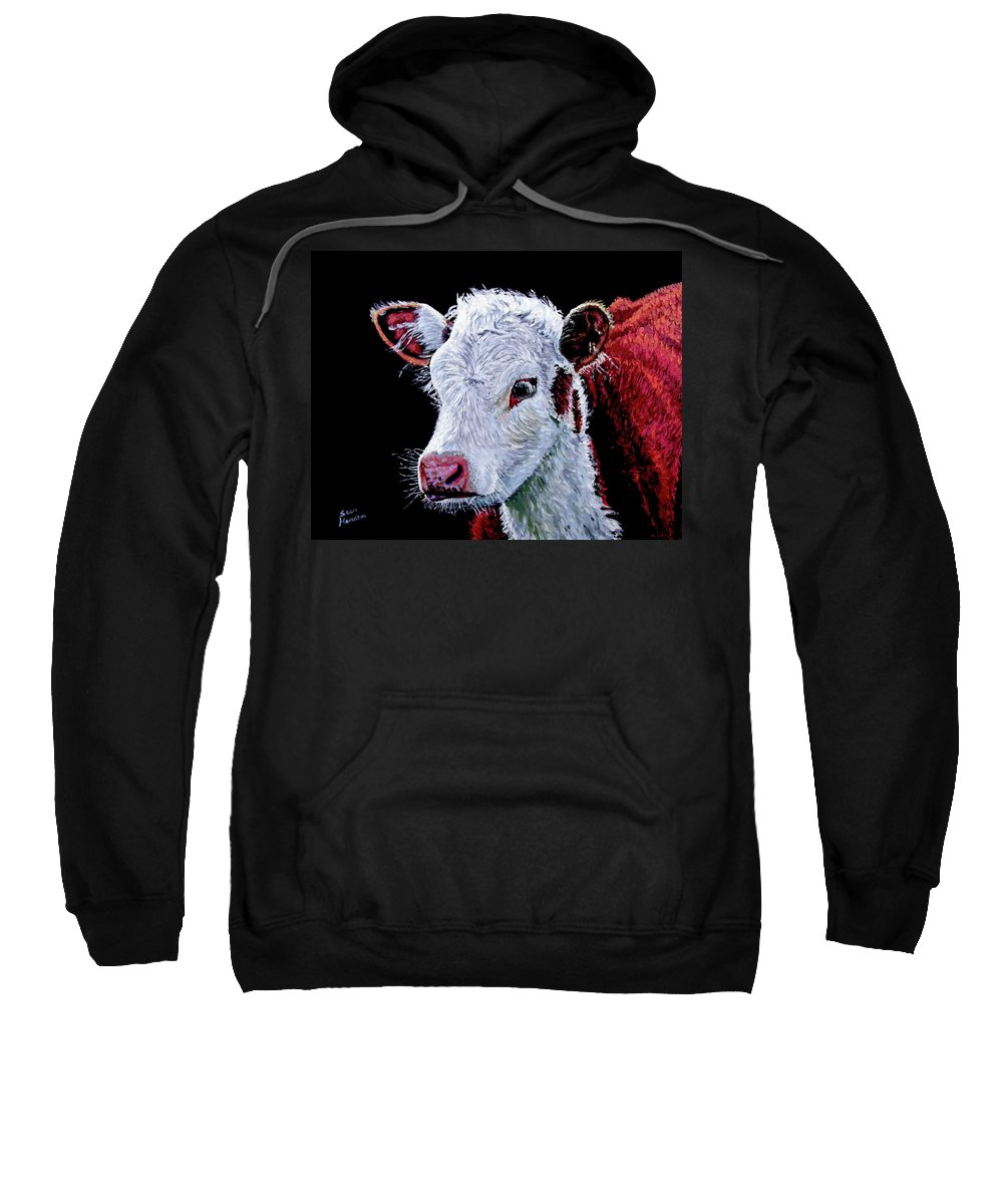 Calf Sweatshirt featuring the painting Young Bull by Stan Hamilton