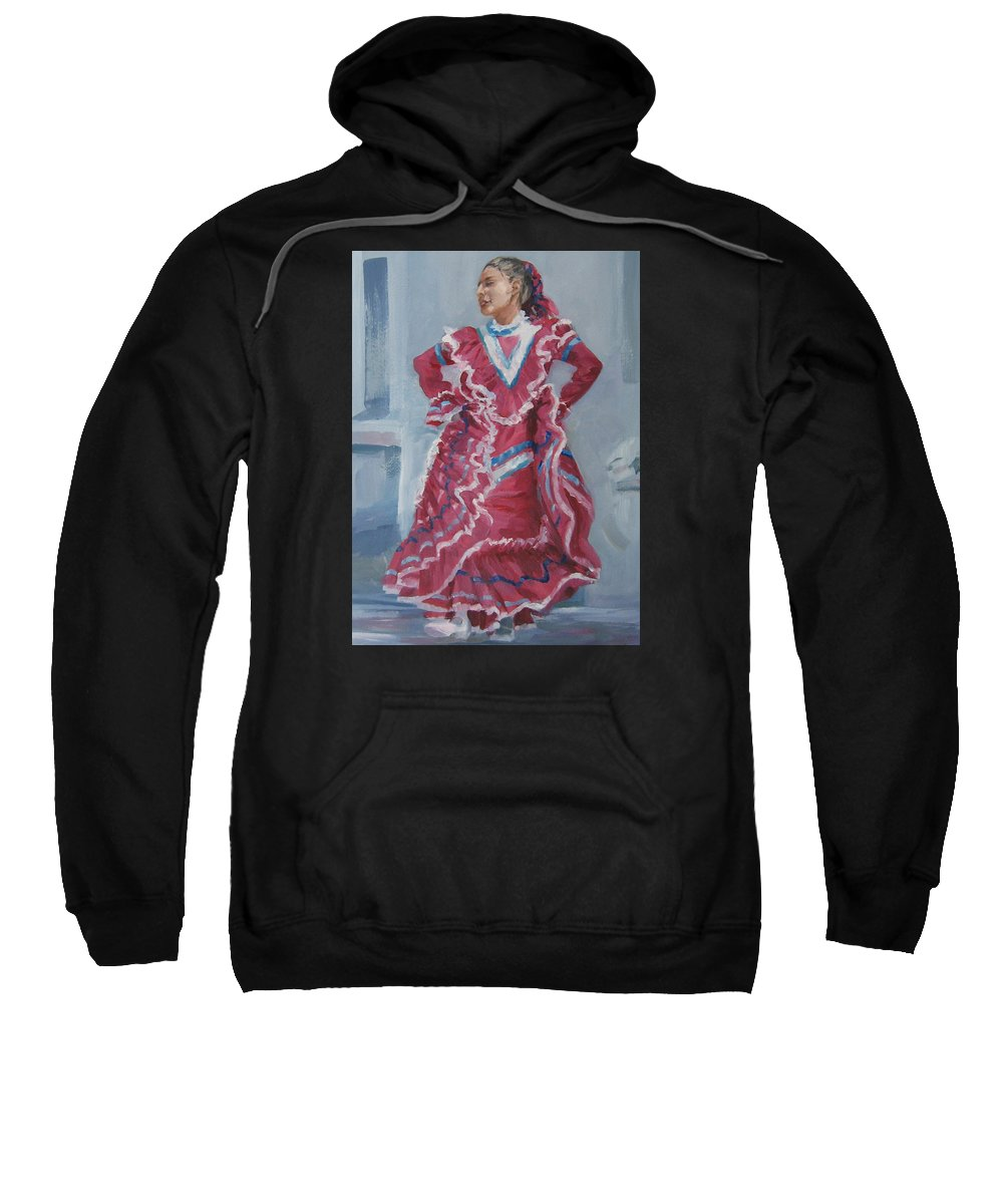 San Antonio Sweatshirt featuring the painting Young Dancer At Arneson Theater by Connie Schaertl