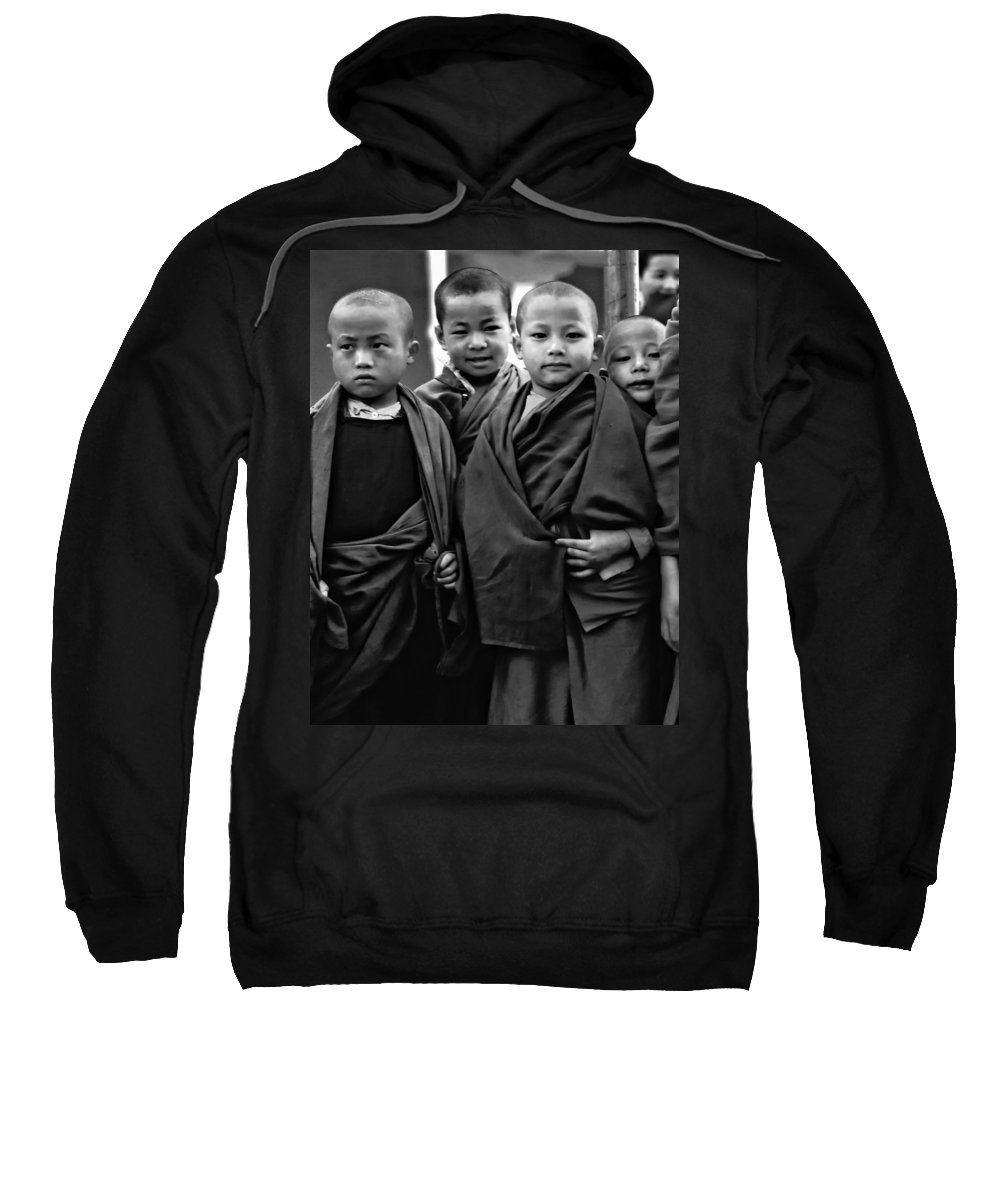 Buddhism Sweatshirt featuring the photograph Young Monks II Bw by Steve Harrington