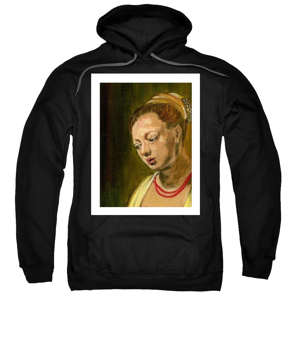 Rembrandt's Painting Sweatshirt featuring the painting Young Woman by Asha Sudhaker Shenoy