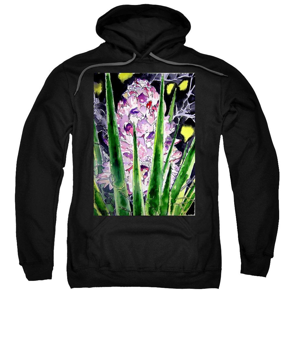 Flower Sweatshirt featuring the painting Yucca Flower Plant Southwestern Art by Derek Mccrea