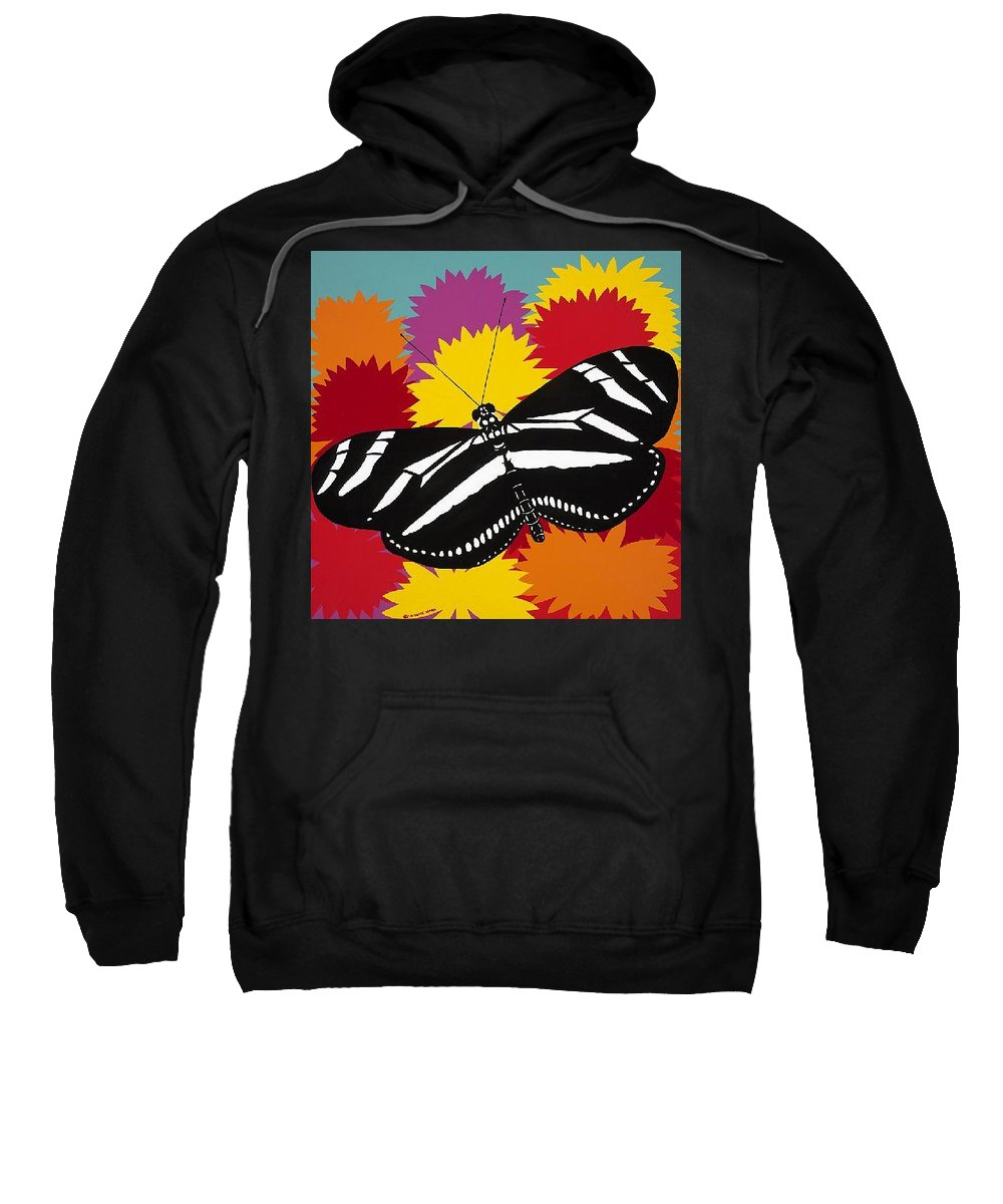 Butterfly Sweatshirt featuring the painting Zebra Butterfly by Synthia SAINT JAMES