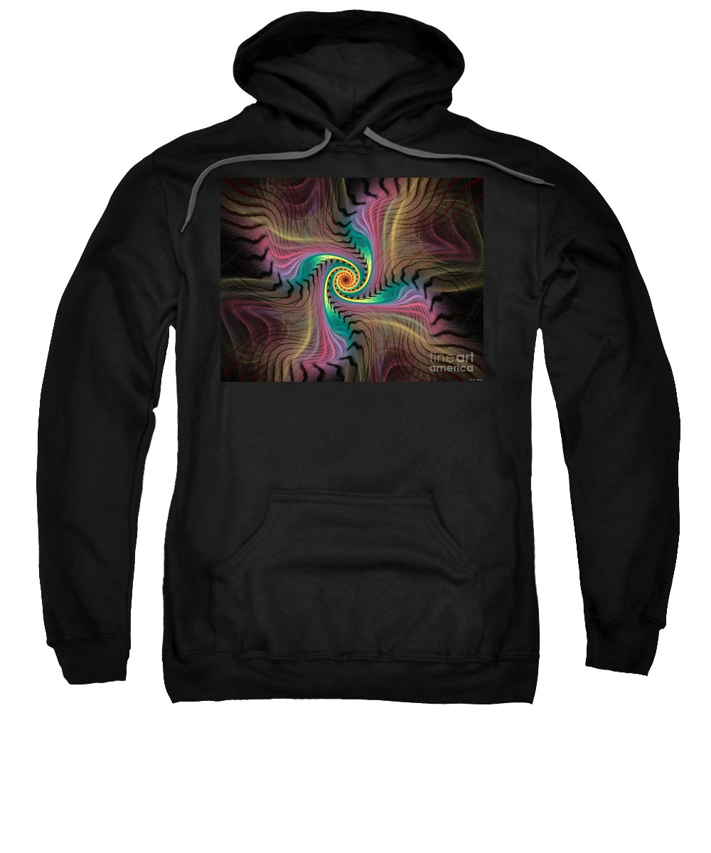 Spiral Sweatshirt featuring the digital art Zebra Spiral Affect by Deborah Benoit